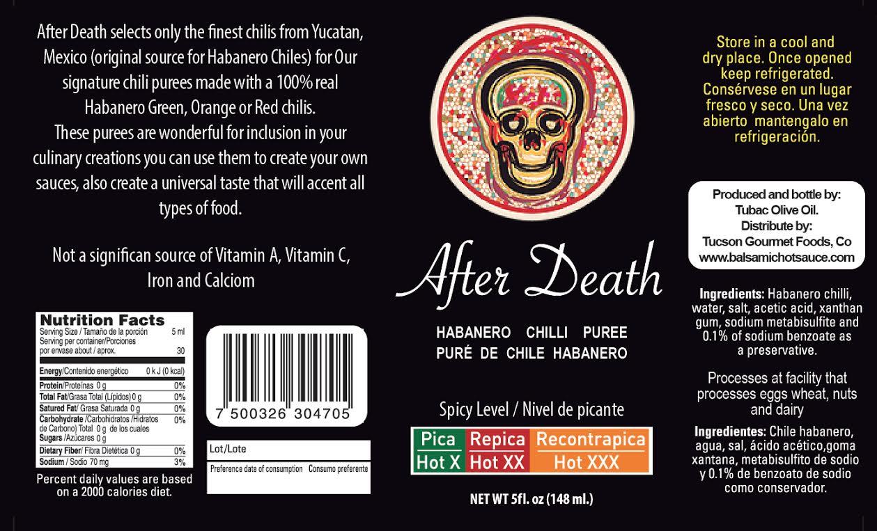 """After Death"" GOURMET HOT SAUCE, (retail) 5 0z bottle"